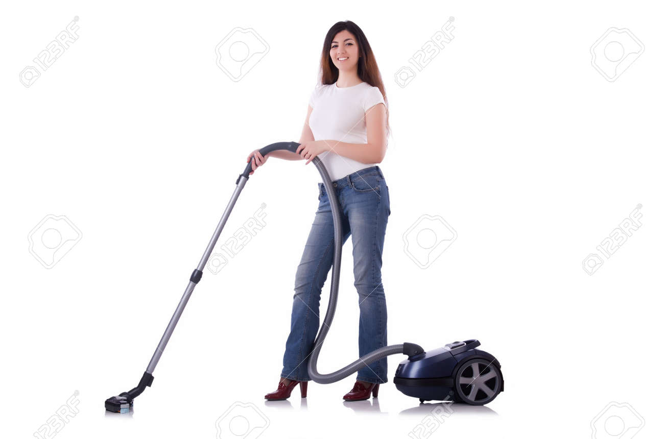 Young woman with vacuum cleaner on white Stock Photo - 19512466