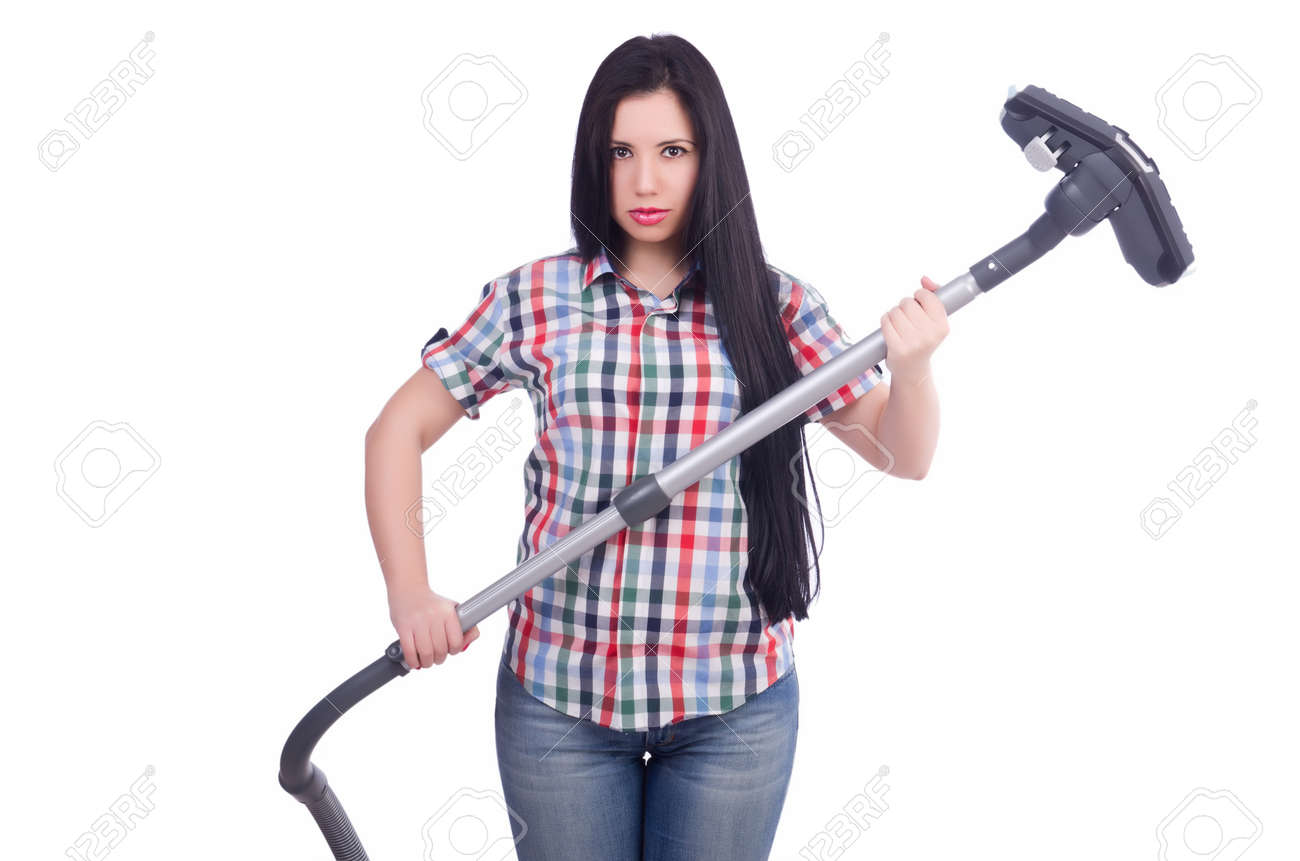 Young woman with vacuum cleaner on white Stock Photo - 19512880