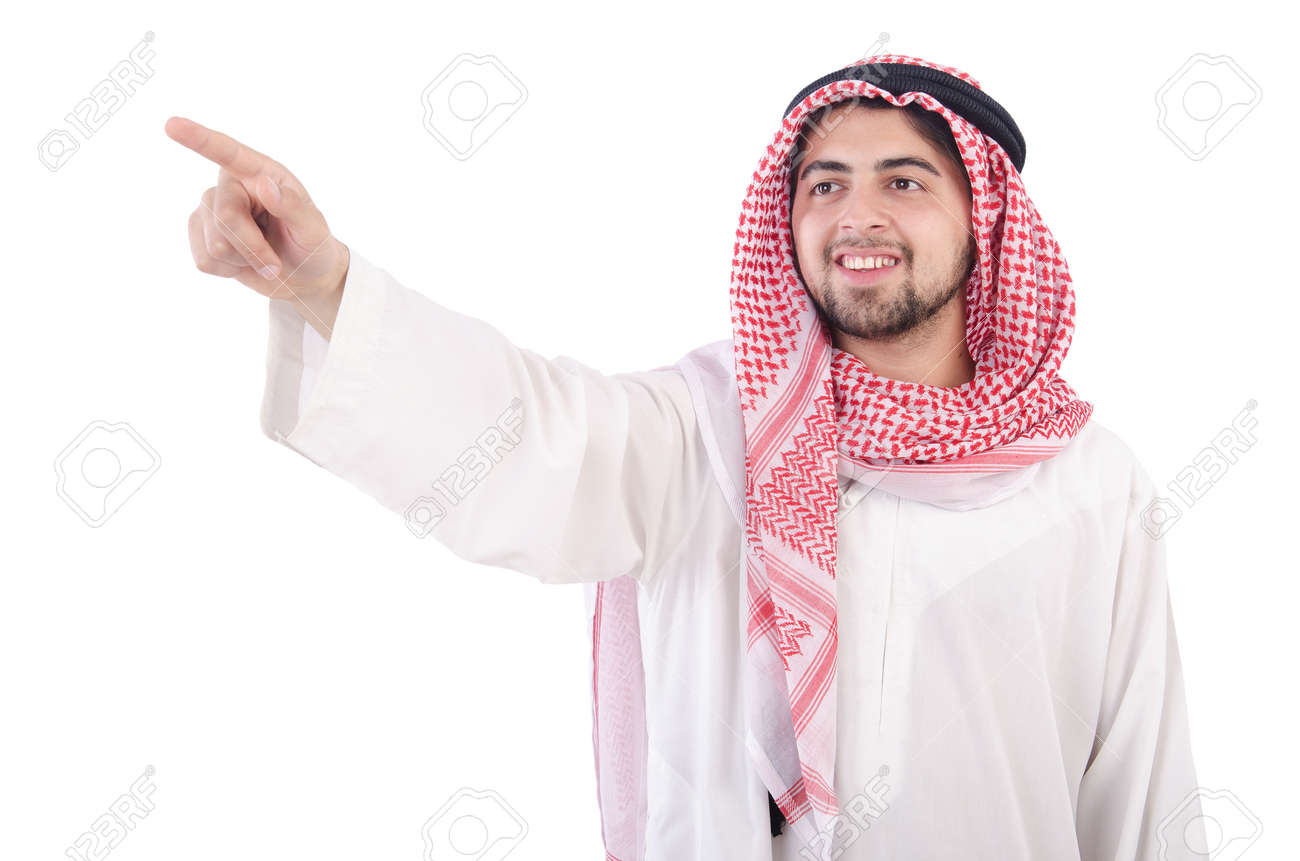 Arab pressing virtual buttons Stock Photo - 19513248