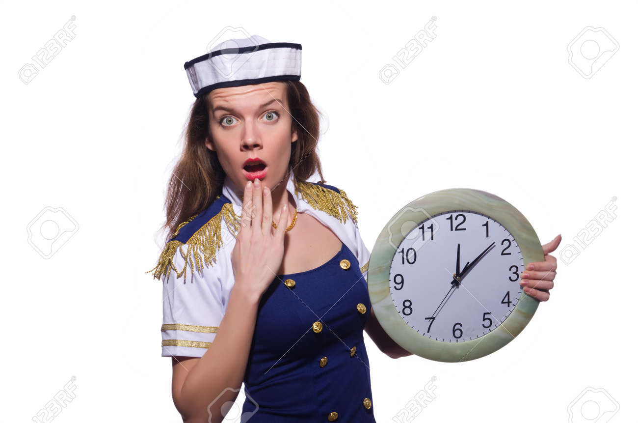 Sailor with clock isolated on white Stock Photo - 19513065