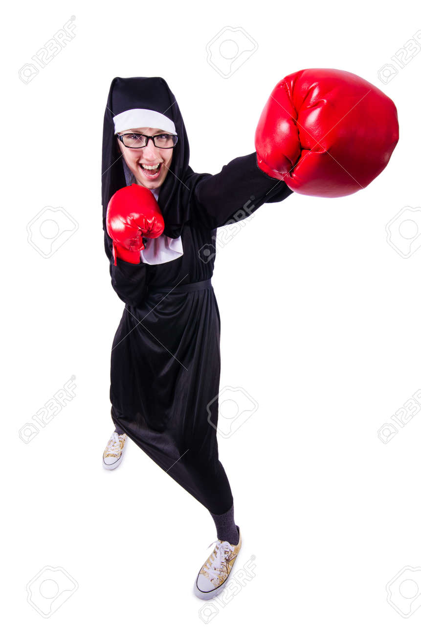 Nun with boxing gloves isolated on white Stock Photo - 19642695