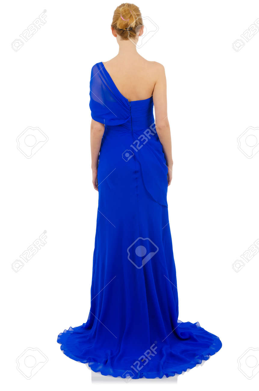 Woman in fashion dress concept on white Stock Photo - 19605106