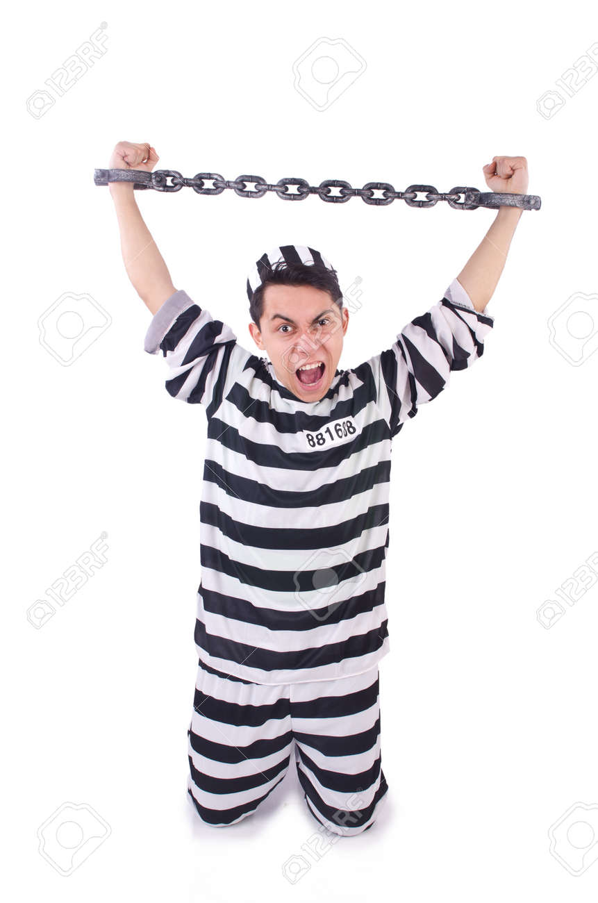 Funny convict isolated on the white Stock Photo - 19642719