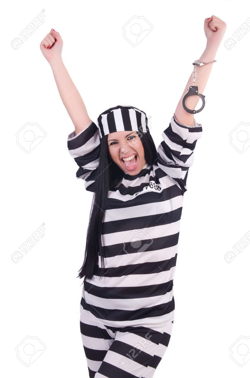 Prisoner in striped uniform on white Stock Photo - 20083319