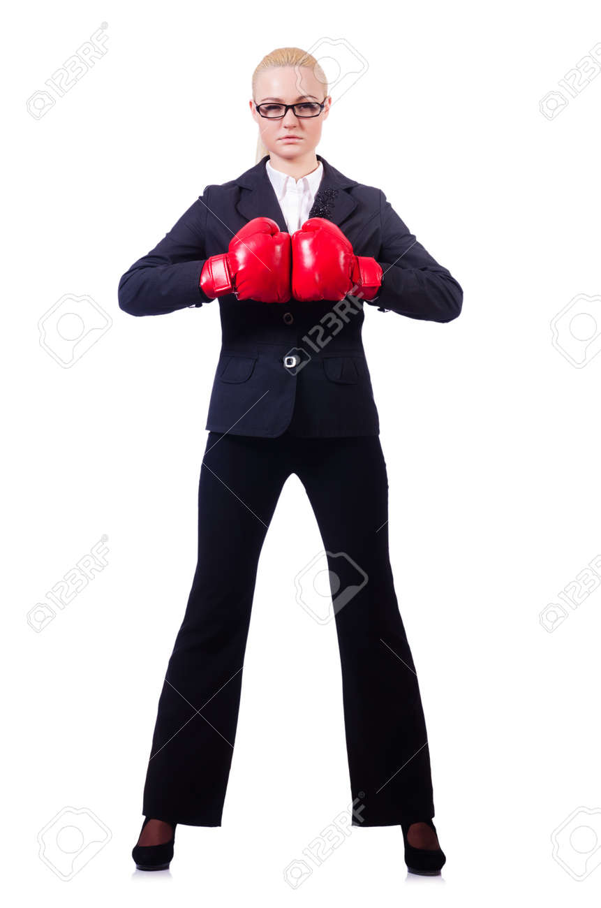 Woman businesswoman with boxing gloves on white Stock Photo - 19642633