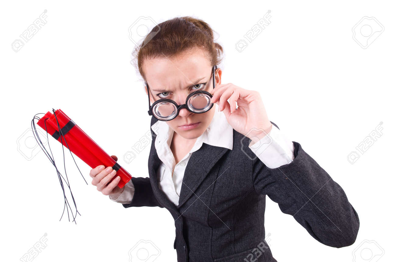 Businesswoman with dynamite on white Stock Photo - 20081121