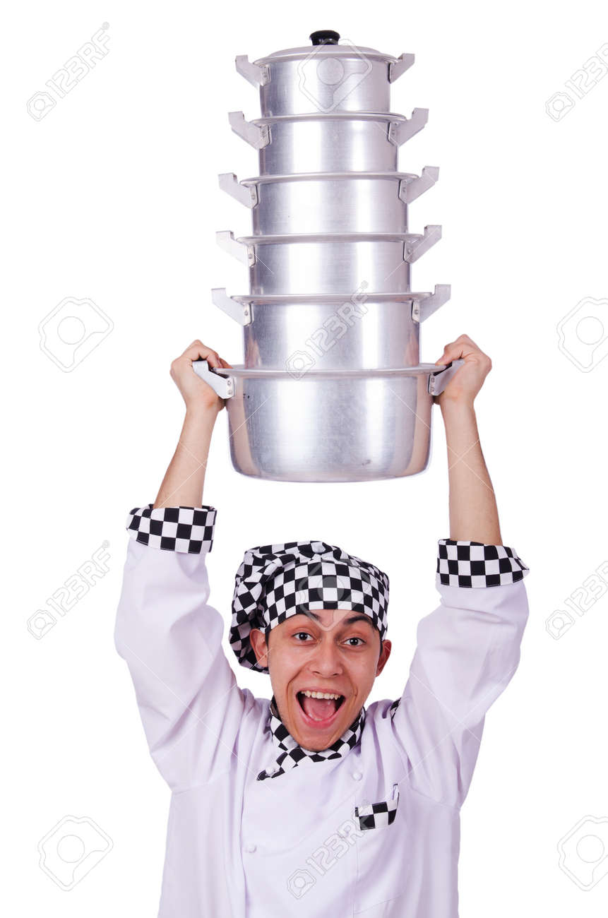Cook with stack of pots on white Stock Photo - 20083443