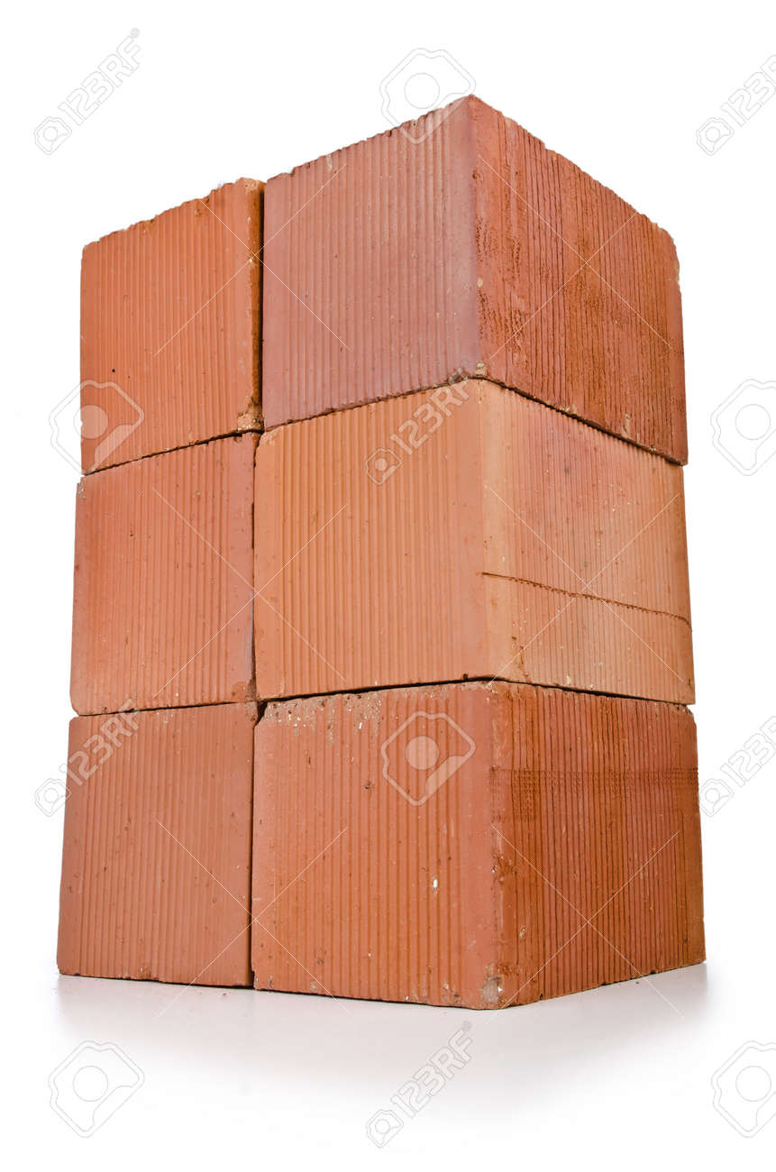 Stack of clay bricks isolated on white Stock Photo - 19654206