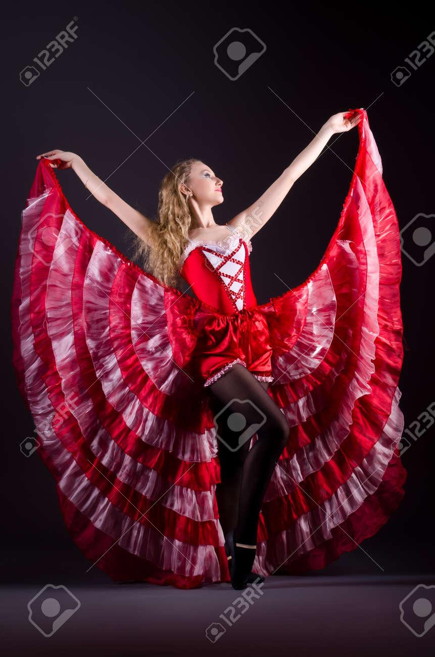 Girl in red dress dancing dance Stock Photo - 20258794