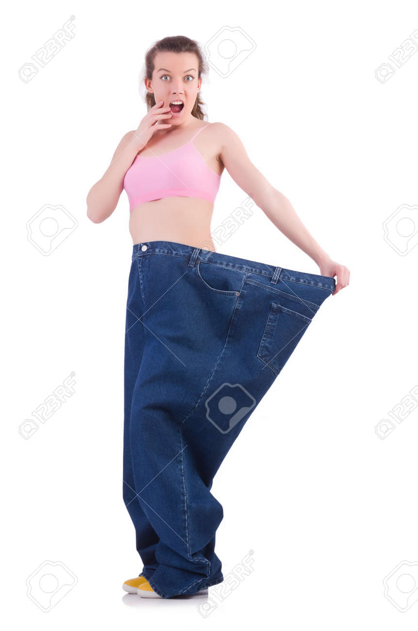 Woman in dieting concept with big jeans Stock Photo - 20102464