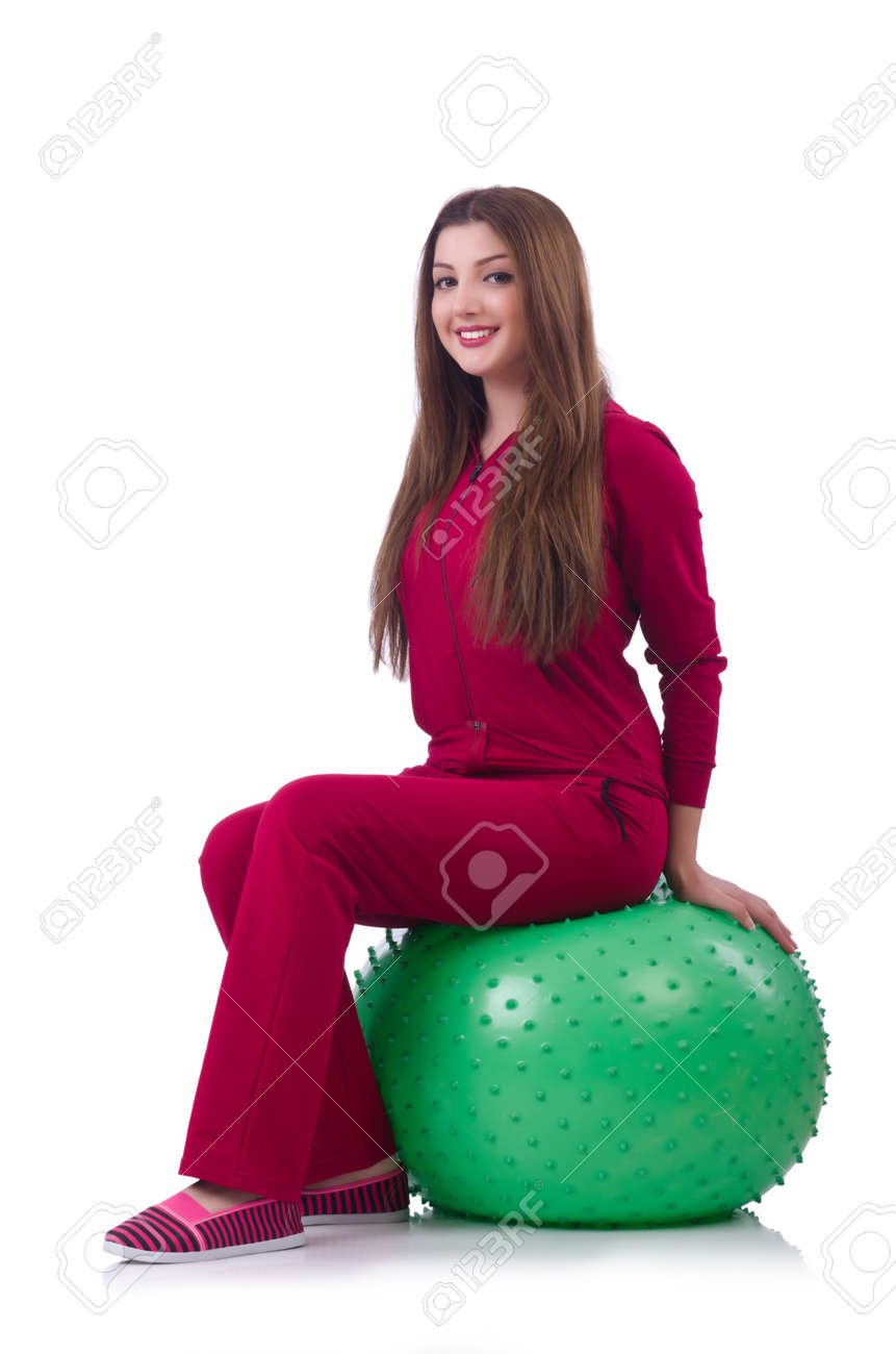 Young woman with ball exercising on white Stock Photo - 20102107