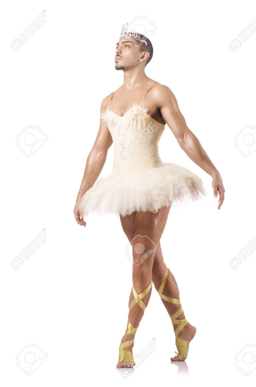 Man in ballet tutu isolated on white Stock Photo - 21058419
