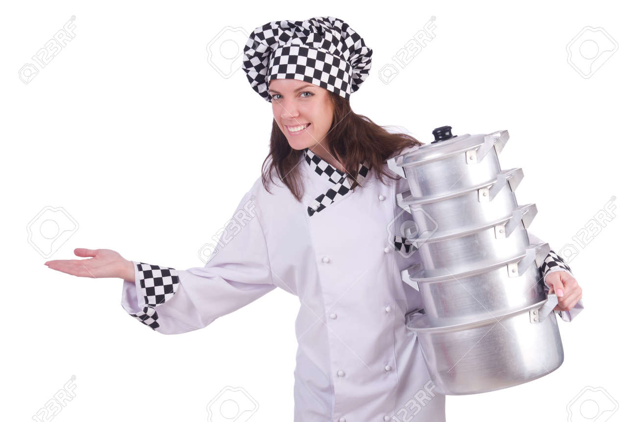 Cook with stack of pots on white Stock Photo - 20258760