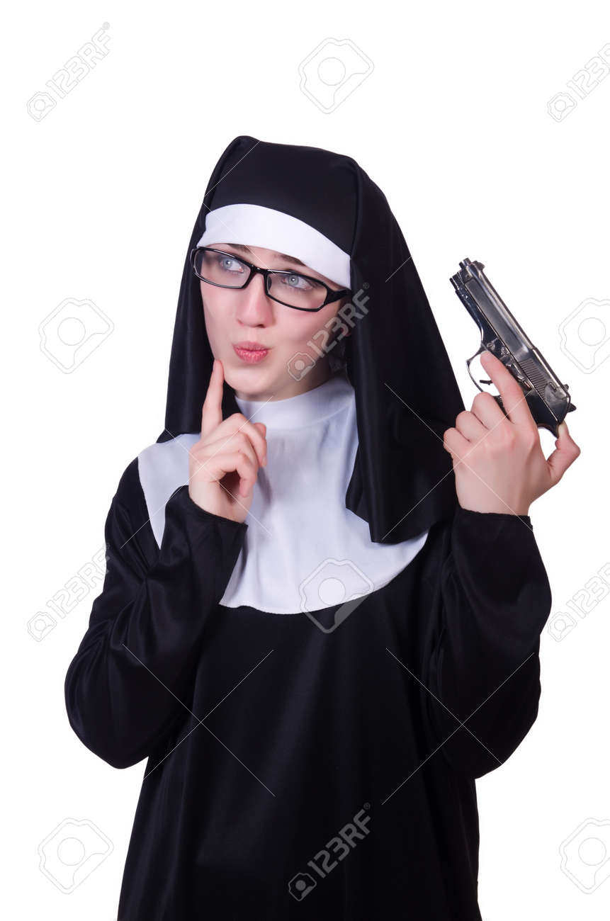 Nun with handgun isolated on white Stock Photo - 19934450