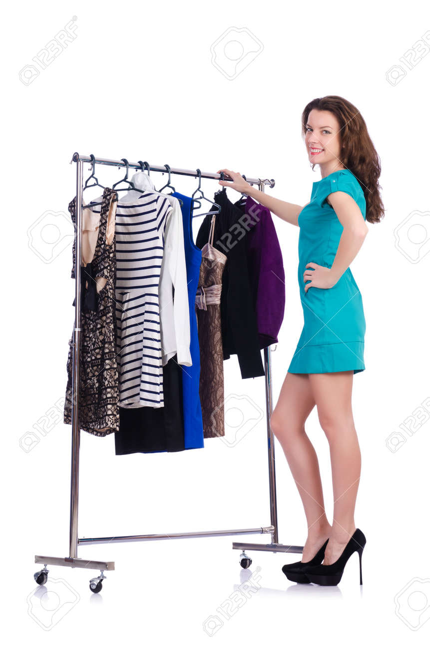 Woman trying new clothing on white Stock Photo - 20101661