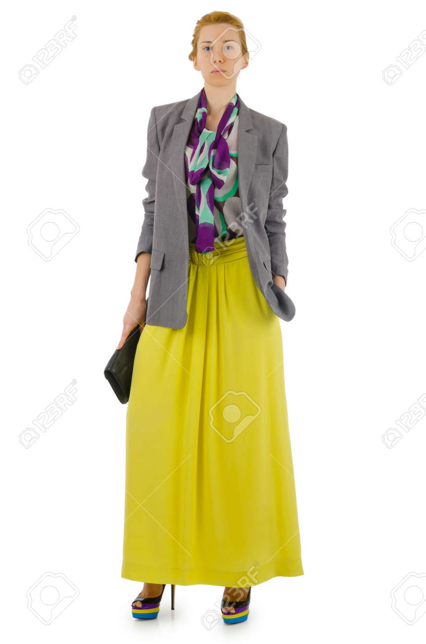 Woman in fashion dress concept on white Stock Photo - 20101628
