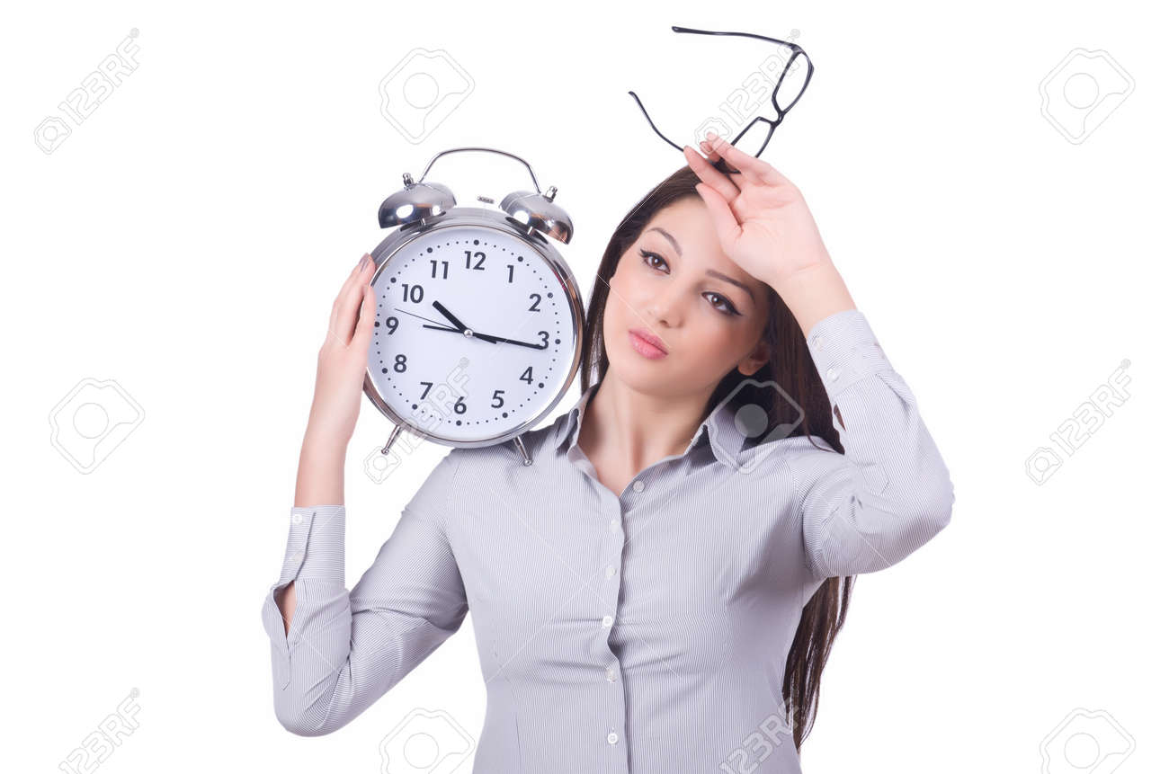 Woman with clock isolated on white Stock Photo - 20101667
