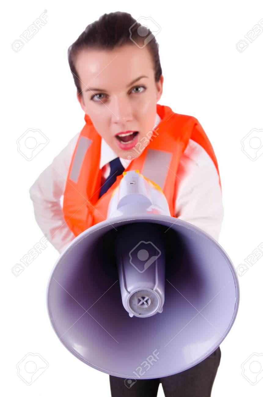 Young woman with vest and loudspeaker on white Stock Photo - 19933305