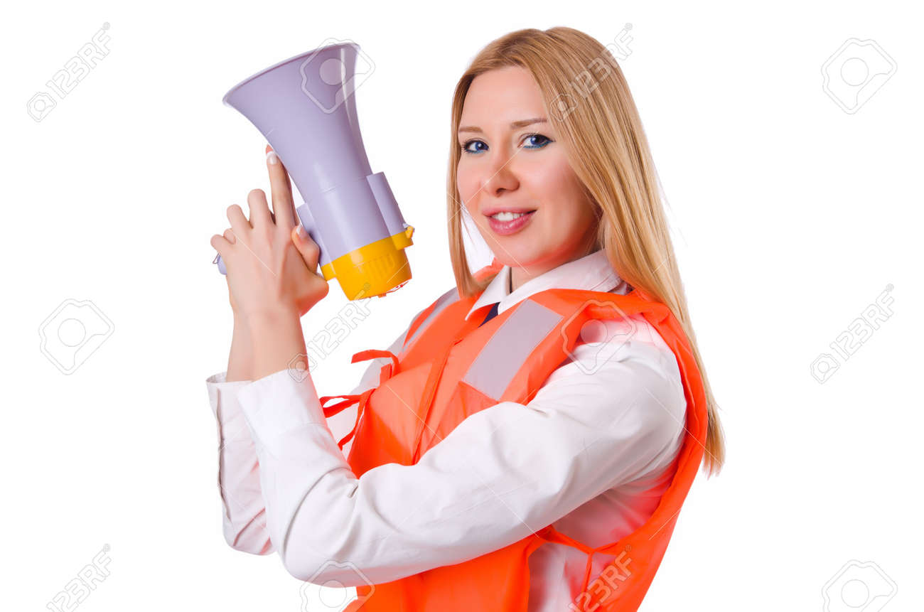 Young woman with vest and loudspeaker on white Stock Photo - 19933700