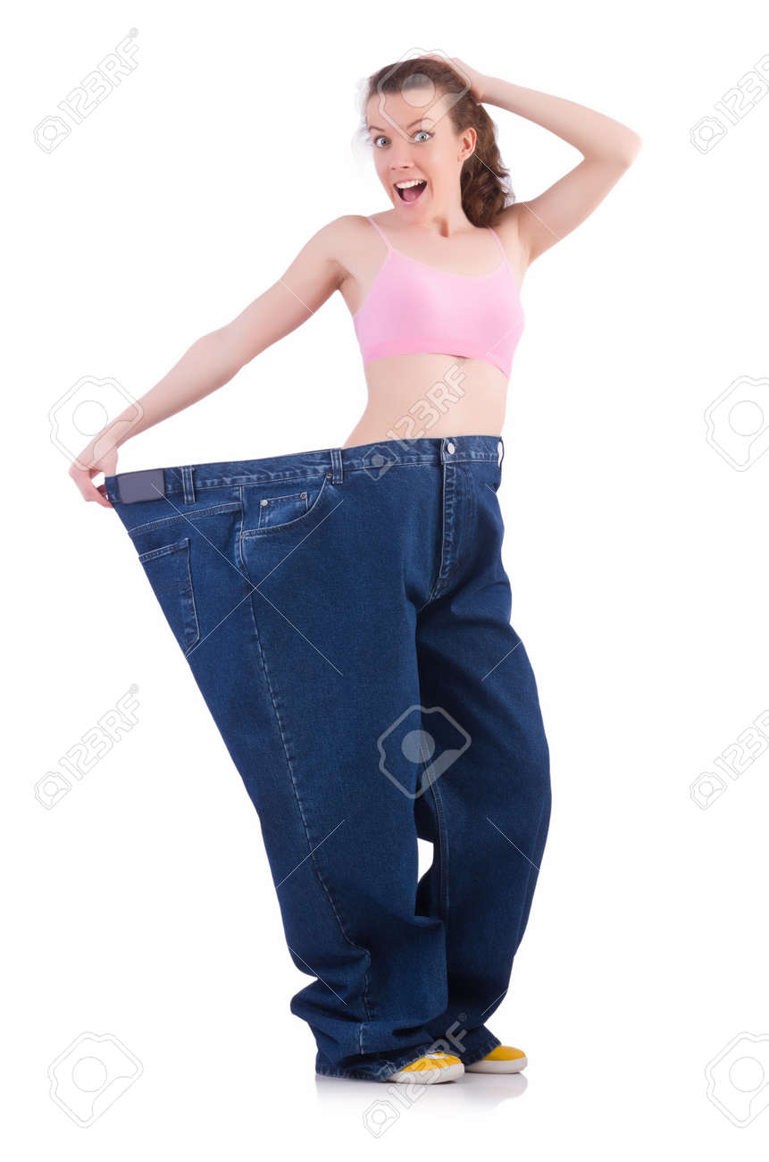 Woman in dieting concept with big jeans Stock Photo - 19933885