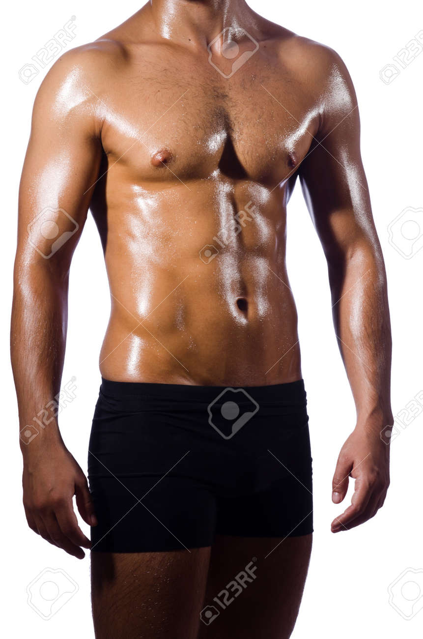 Muscular man isolated on the white Stock Photo - 19788070