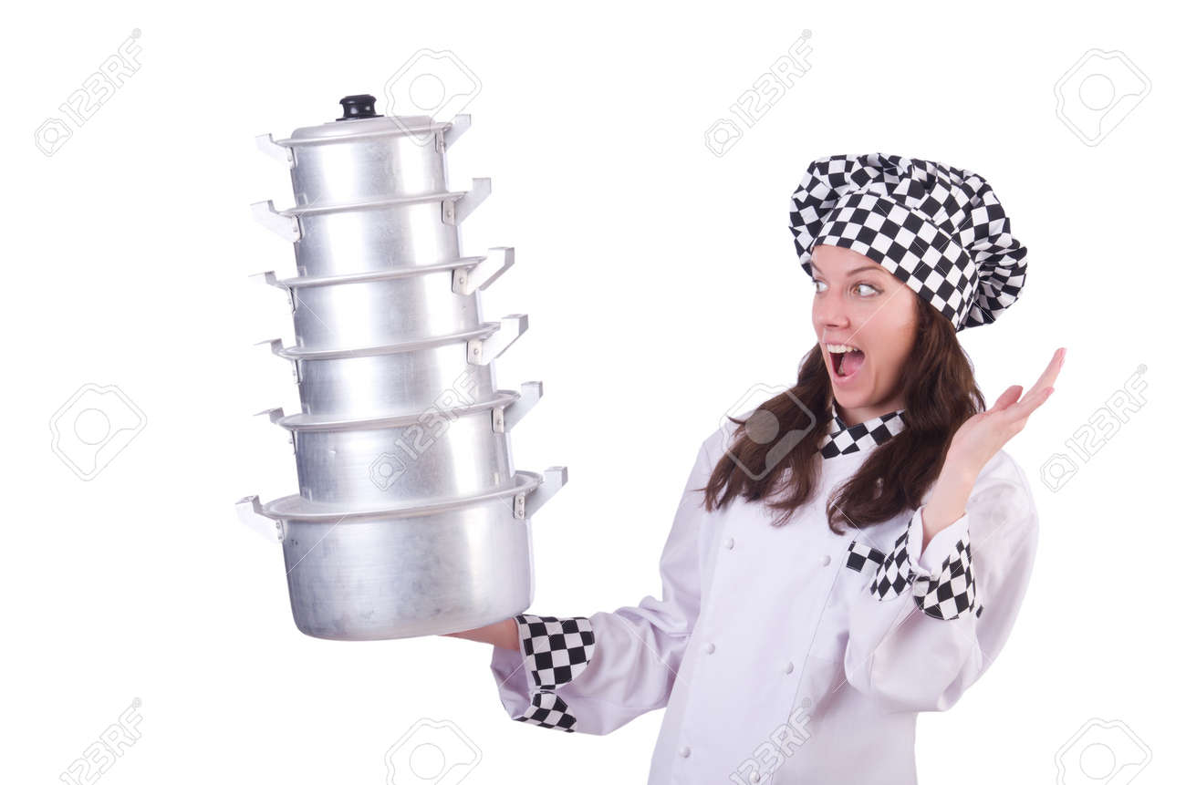 Cook with stack of pots on white Stock Photo - 19913809