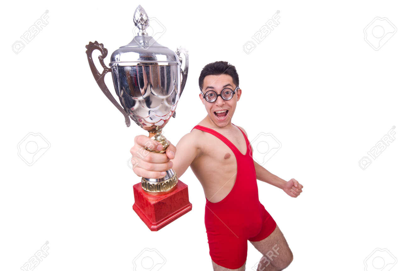 Funny wrestler with winners cup Stock Photo - 20079937