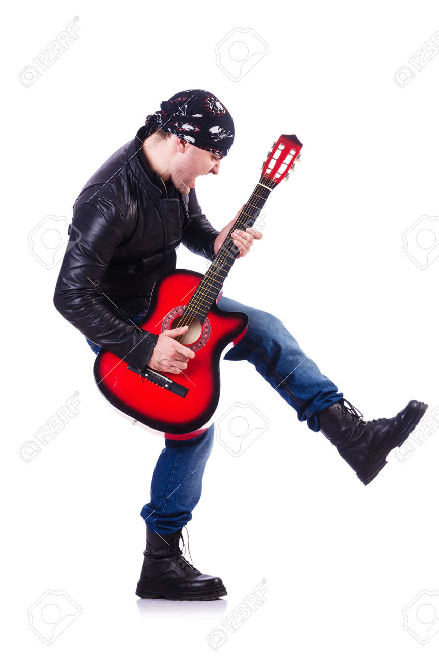 Guitar player isolated on white Stock Photo - 21110183