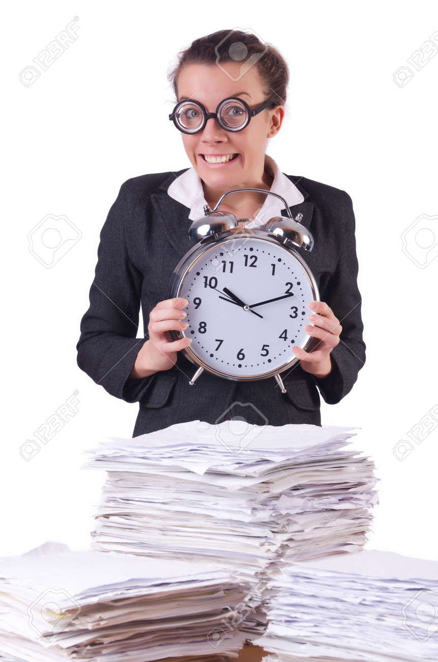 Woman businesswoman with giant alarm clock Stock Photo - 20574314