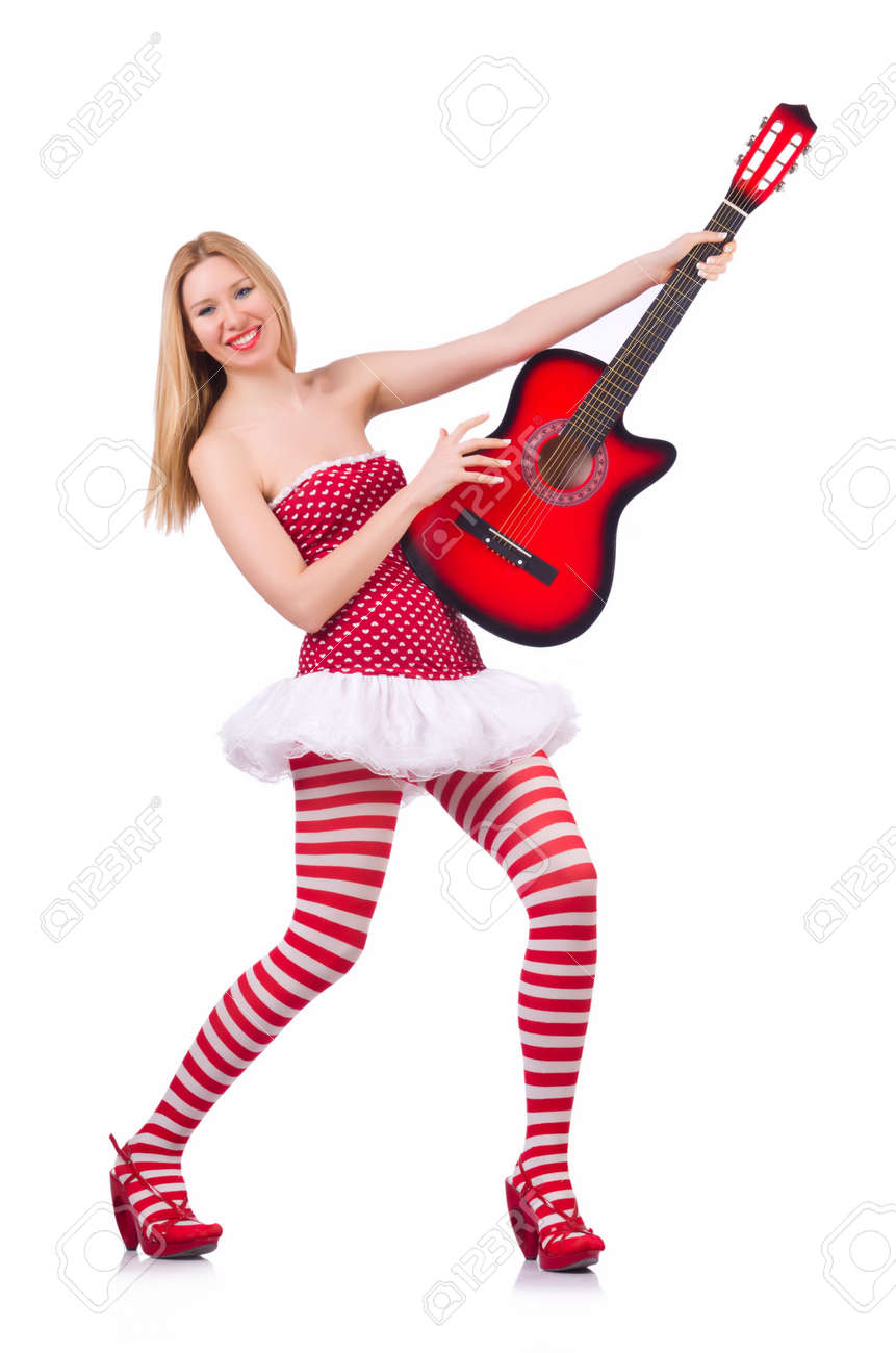 Young guitar player isolated on white Stock Photo - 20080683
