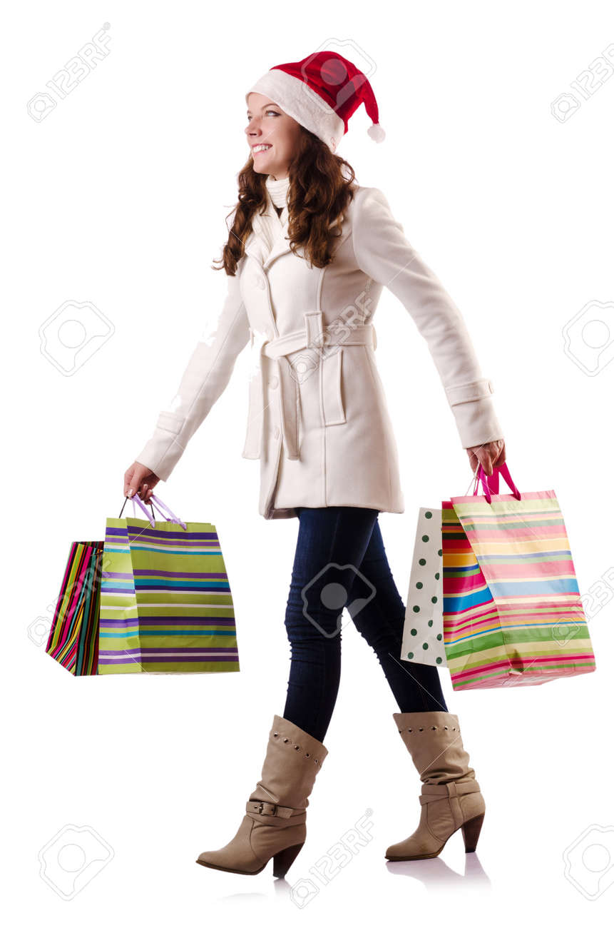 Woman in winter clothing doing christmas shopping Stock Photo - 21086990