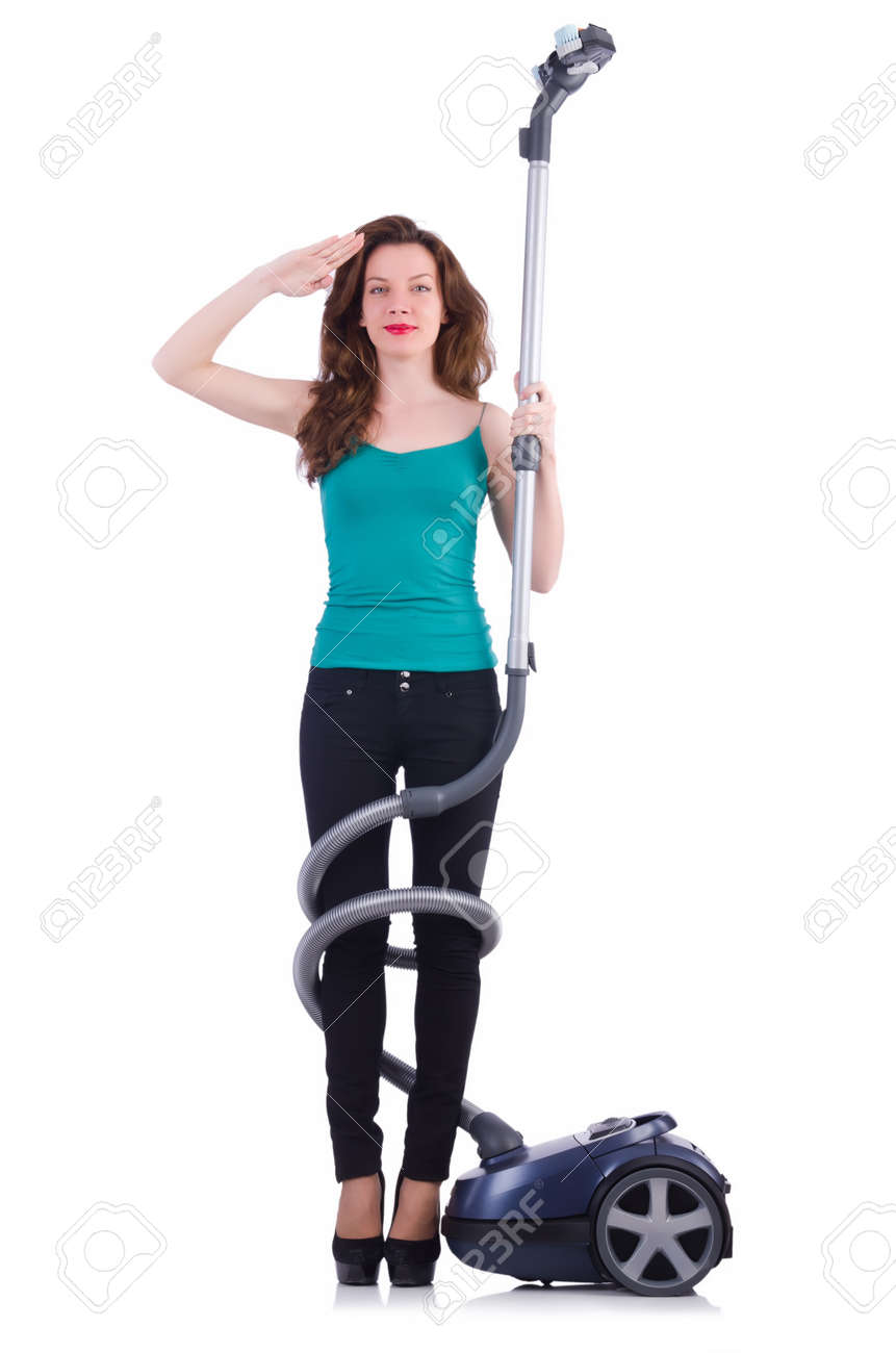 Young woman with vacuum cleaner on white Stock Photo - 21087003