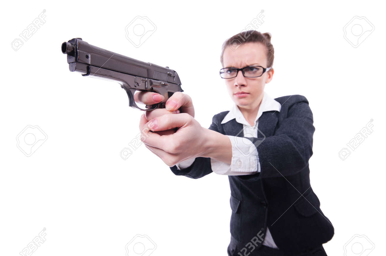 Woman with gun isolated on white Stock Photo - 21110455