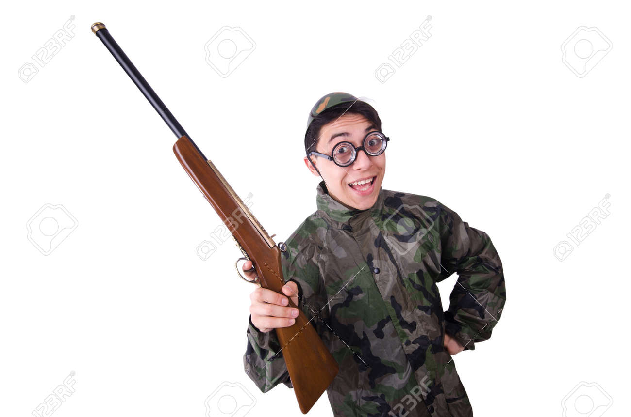 Funny soldier isolated on the white Stock Photo - 21087105