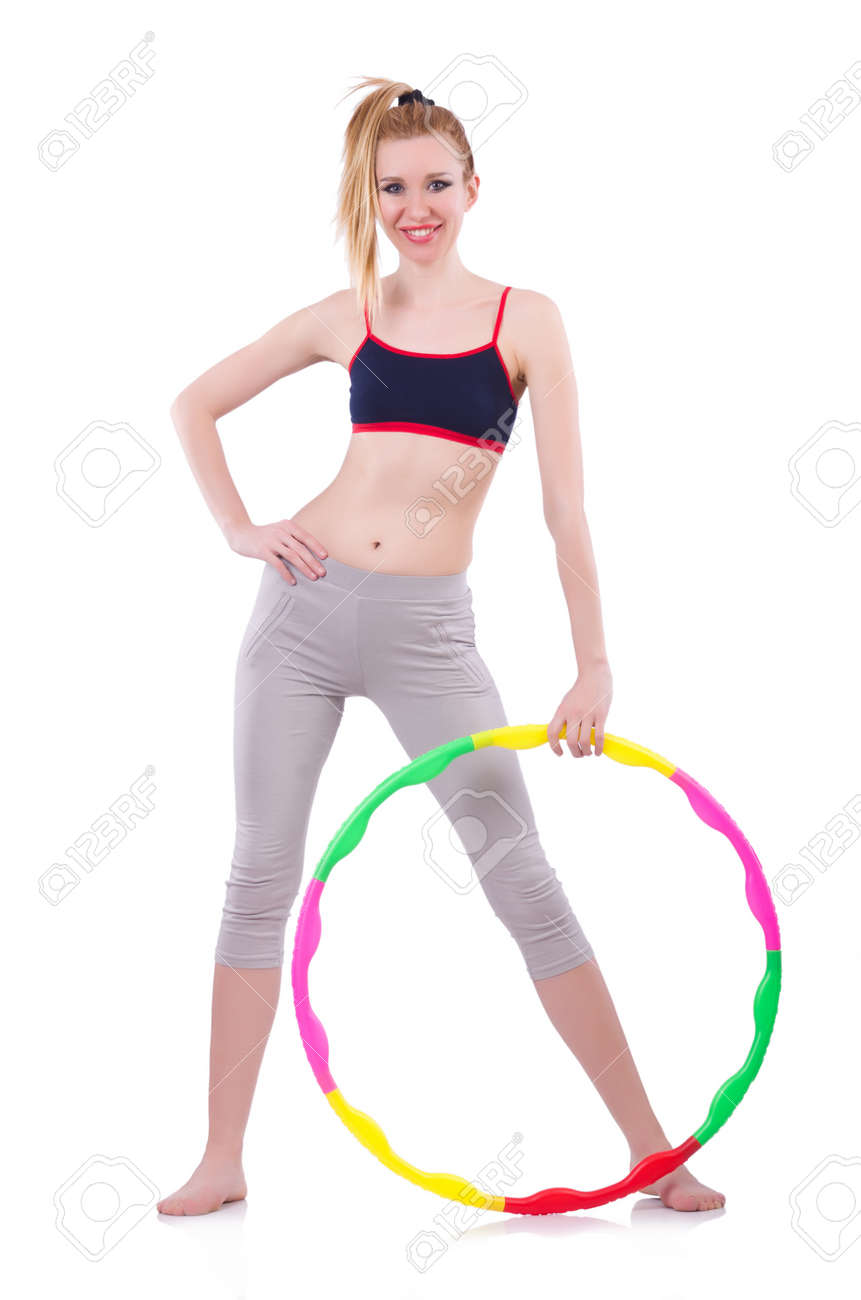 Woman doing exercises with hoop Stock Photo - 21058852