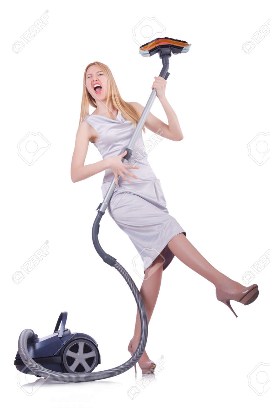 Young woman with vacuum cleaner on white Stock Photo - 21087096