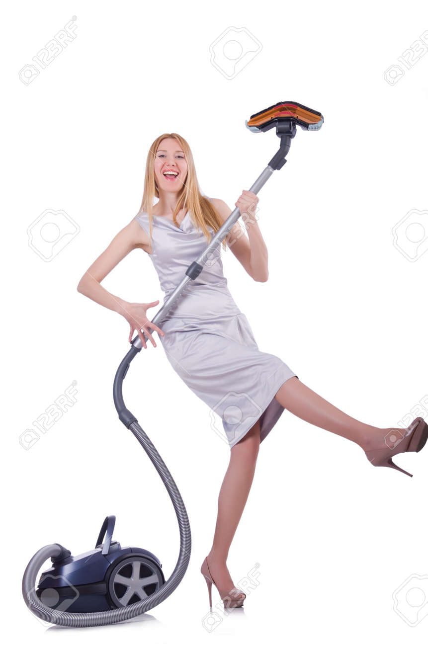 Young woman with vacuum cleaner on white Stock Photo - 21087097