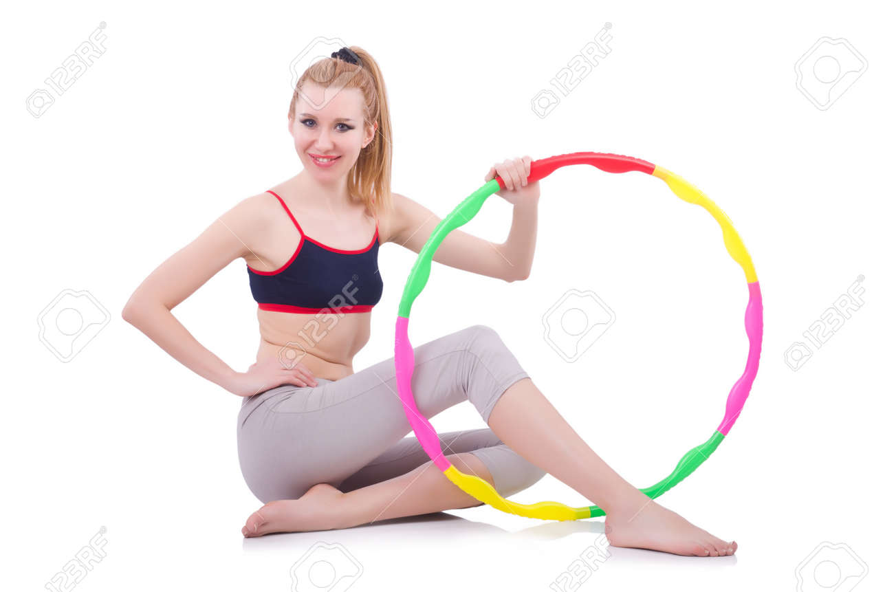 Woman doing exercises with hula hoop Stock Photo - 21110565