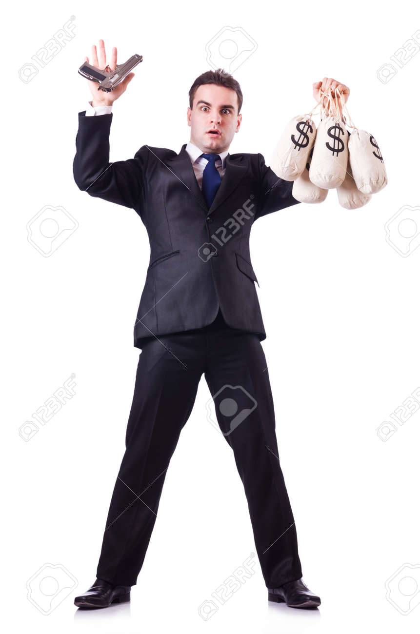 Man with gun and sacks of money Stock Photo - 21077089