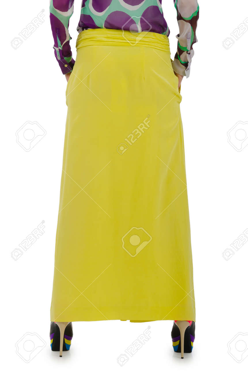 Woman in fashion dress concept on white Stock Photo - 20838815