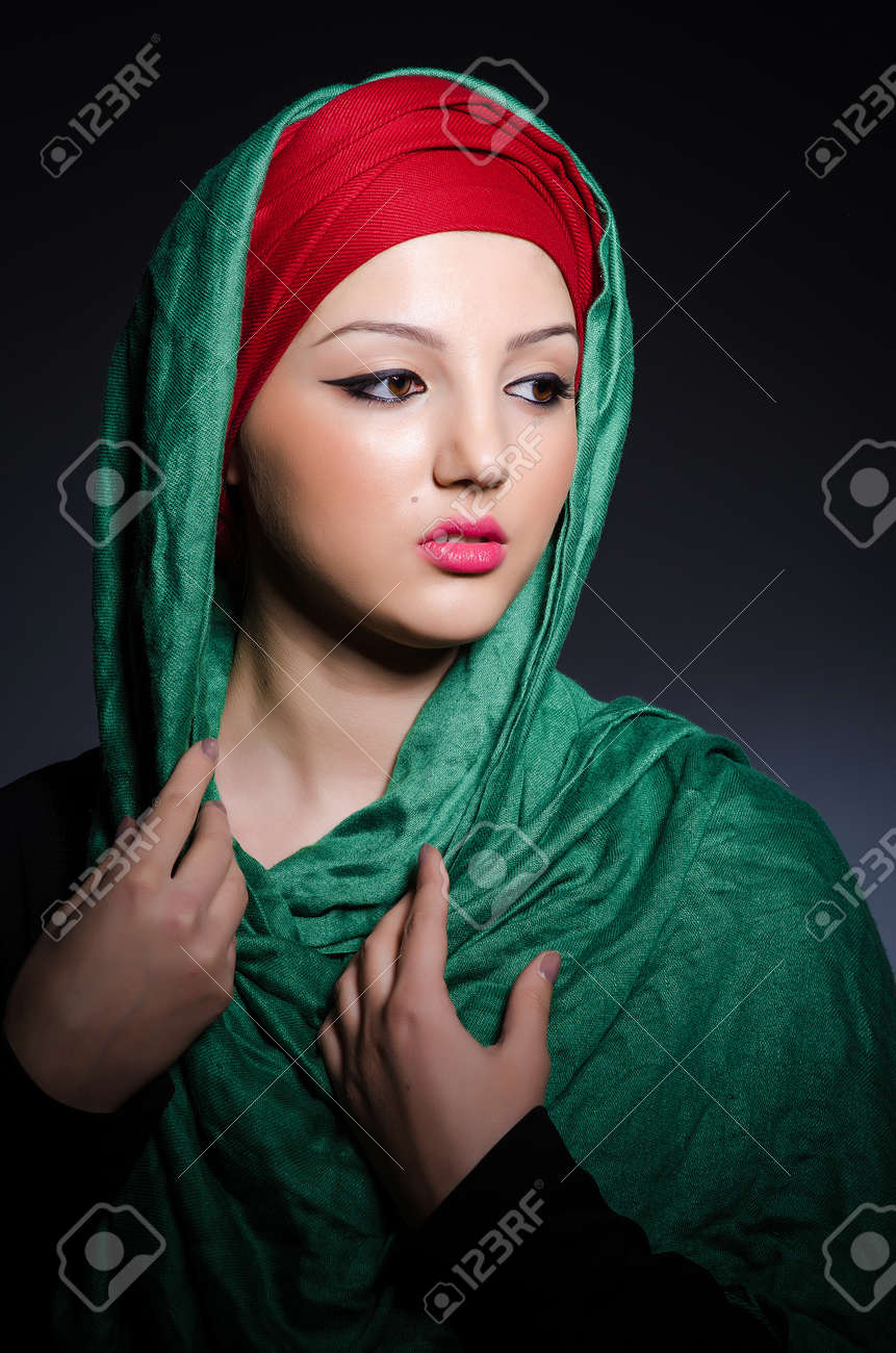 Muslim woman with headscarf in fashion concept Stock Photo - 21077101
