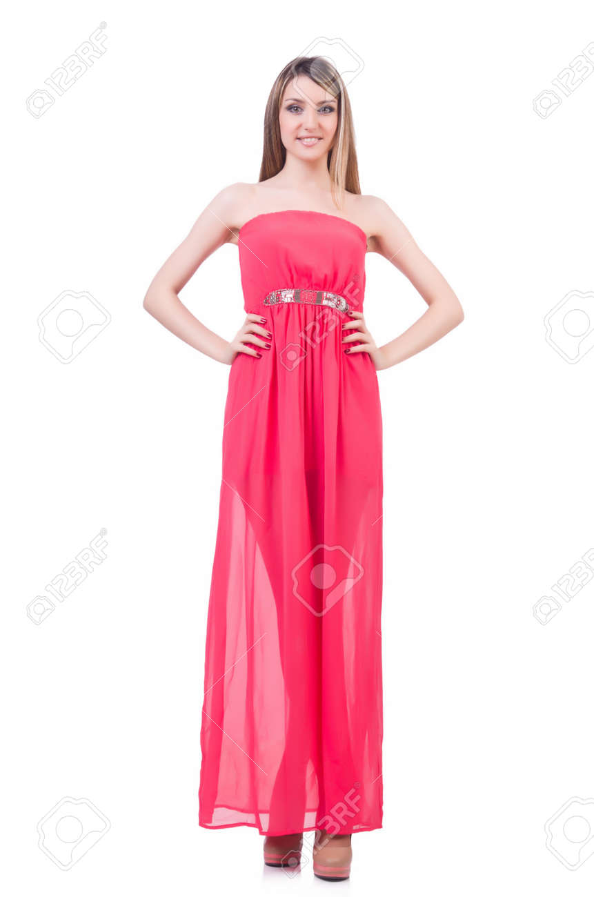 Woman in attractive dress on white Stock Photo - 21110633