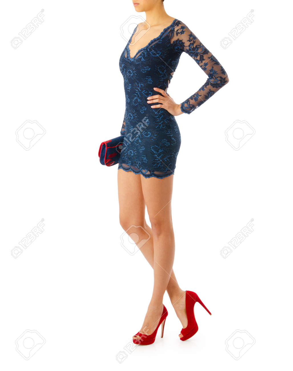Woman in fashion dress concept on white Stock Photo - 20838842