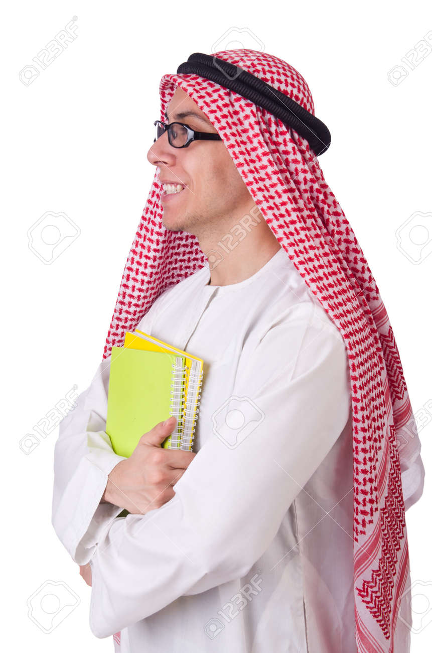 Arab student isolated on white Stock Photo - 21326333
