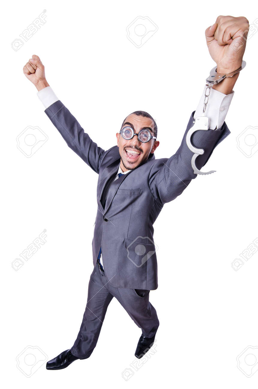Funny businessman with handcuffs on white Stock Photo - 21515546