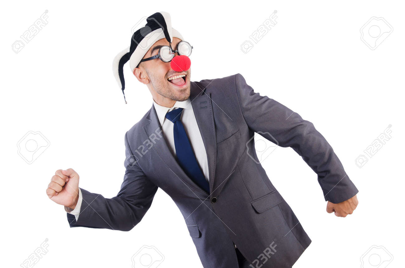 Businessman clown isolated on white Stock Photo - 21747246