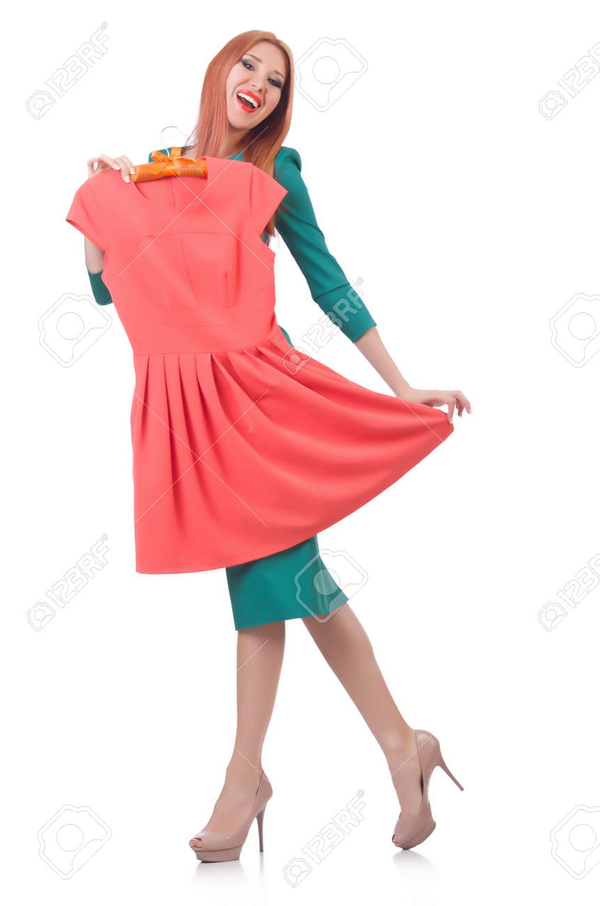 Woman trying new clothing on white Stock Photo - 21792474