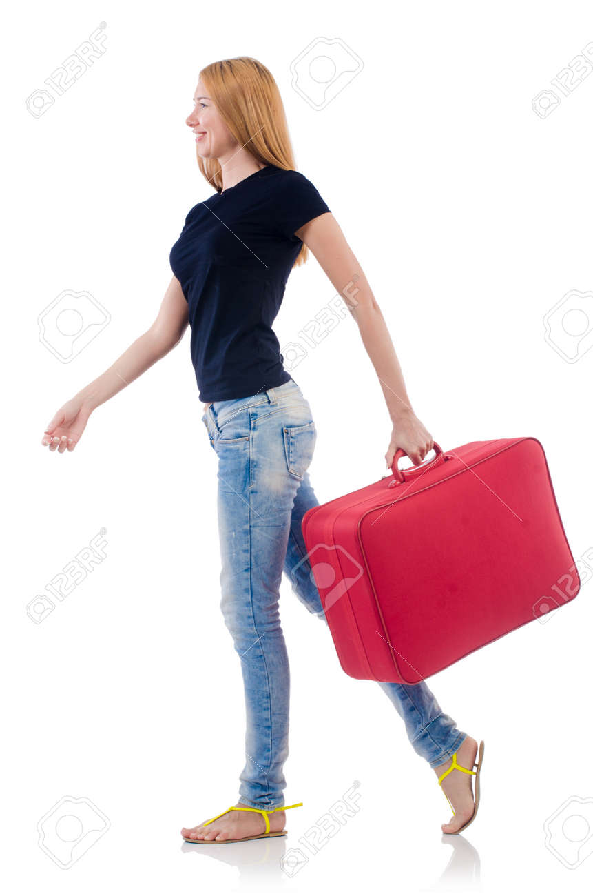 Woman preparing for vacation on white Stock Photo - 22046759