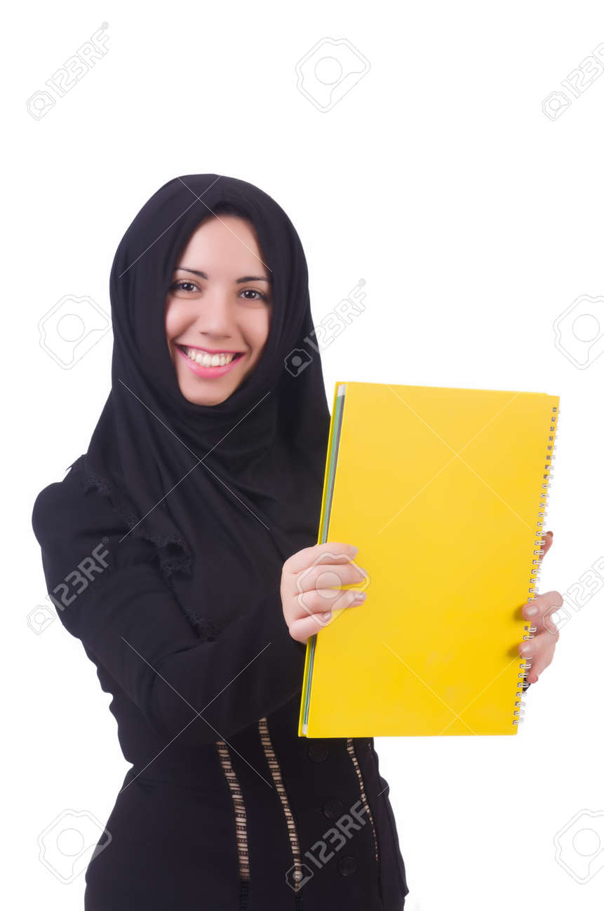 Young muslim female student with books Stock Photo - 22046408