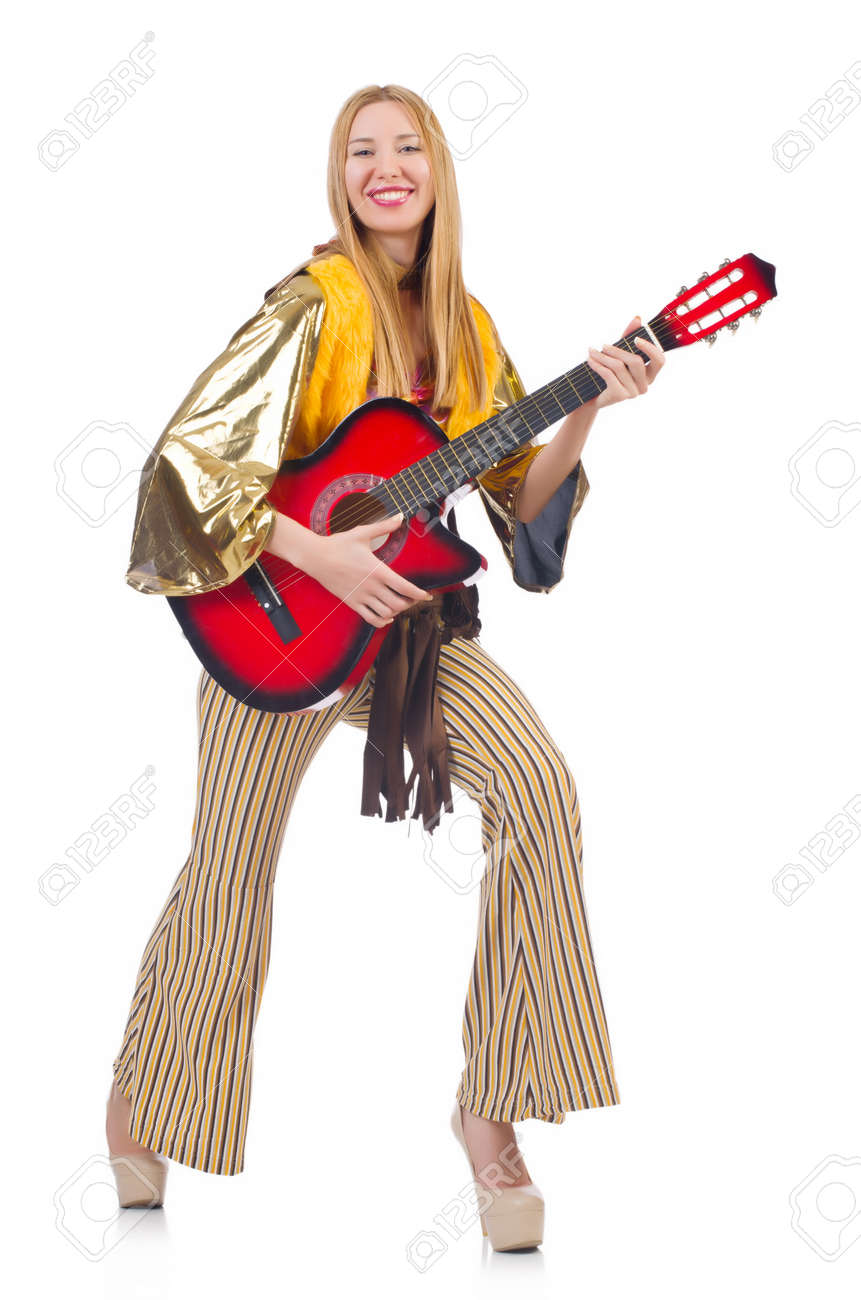 Guitar player isolated on the white Stock Photo - 22277900